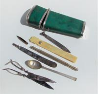 Rare Absolutely Stunning Georgian Solid Silver & Green Shagreen Etui Case    c1760 (9 of 13)