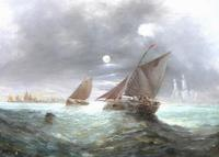Pair of George H. Knight Oil on Canvas Paintings of Marine Scenes (4 of 9)