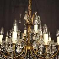 Italian Gilded 12 Light Double Tiered Antique Chandelier (3 of 10)
