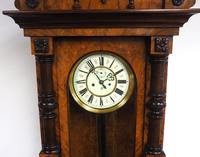 Rare Impressive Antique Burr Walnut 8-Day Twin Weight Striking Vienna Regulator Wall Clock by Gustav Becker (7 of 13)