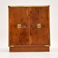 Antique Military Campaign Style Yew Wood Miniature Cabinet (4 of 7)