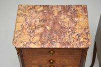 Pair of Antique French Inlaid Marble Top Bedside Chests (12 of 12)
