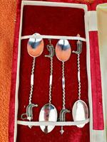 Set of 4 Unique Sterling Silver Dubai Spoon Set in Case, Stunning Filigree Work (2 of 9)