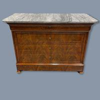 Exceptional French Marble Top Mahogany Inlaid Commode (2 of 12)