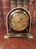 Antique Chinioserie Tortoiseshell Gilt Mantel Clock (3 of 12)