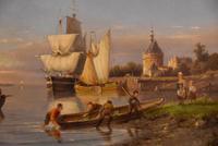 """Oil painting by Pieter Cornelis Dommersen """"Hoorn on the Juiderzee"""" (3 of 6)"""