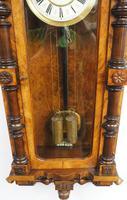 Rare Impressive Antique Burr Walnut 8-Day Twin Weight Striking Vienna Regulator Wall Clock by Gustav Becker (12 of 13)
