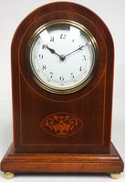 Impressive Solid Mahogany Arched Top Cased Timepiece Clock with Satinwood Inlaid Decoration (8 of 10)