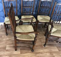 Set of Six Oak Spindle Back Dining Chairs (8 of 12)