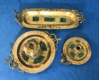 Victorian Gilt Brass Malachite Stationary Desk Set (13 of 17)