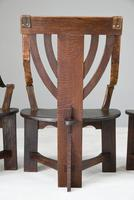 6 Arts & Crafts Carved Oak Chairs (3 of 12)