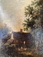 Antique Victorian Landscape Oil Painting of Inn with Figures (7 of 10)