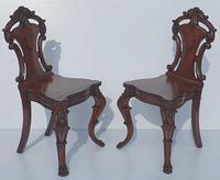 19th Century Irish Mahogany Pair of Hall Chairs Attributed to Strahan (2 of 5)