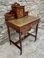 Antique Rosewood Inlaid Writing Desk (3 of 19)