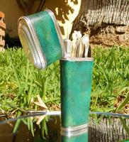 Rare Absolutely Stunning Georgian Solid Silver & Green Shagreen Etui Case    c1760 (10 of 13)