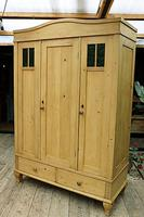 Beautiful Old Pine Triple Knock Down 'Arts & Crafts' Wardrobe  - We Deliver & Assemble! (2 of 18)