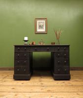 Antique Black Painted Pedestal Desk, 3 Parts, Gothic Shabby Chic (14 of 17)