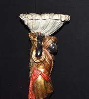 Pair of Venetian Blackamoor Figurines - Antique Clam Shell Planter Stands (9 of 11)