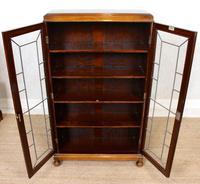 Oak Leaded Glass Bookcase (6 of 15)