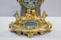 French Napoleon III Bronze Gilt and Porcelain Mantel Clock by Japy Freres (10 of 11)
