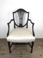 Antique 19th Century Open Arm Carver Armchair with Fabric Seat (M-1196) (10 of 11)