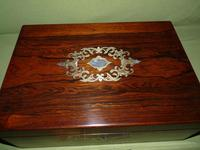 Inlaid Rosewood Writing Box - Extended Office Section c.1870 (2 of 16)