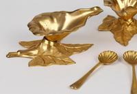 Boxed Set Four British Gilded Metal Floral Salts & Spoons Dated 1870 (2 of 20)