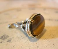 Vintage Silver & Tigers Eye Pocket Watch Chain Fob 1970s Art Nouveau Revival (3 of 9)