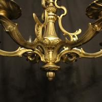 French Gilded Bronze Antique 6 Light Chandelier (9 of 10)