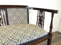Antique Edwardian Mahogany Inlaid Parlour Sofa (5 of 15)