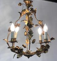 Antique French Birdcage Style Gilt Toleware Ceiling Light Chandelier With Roses (10 of 10)