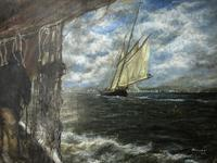 """20th Century Marine Oil Painting """"Sea Captains View From the Deck"""" Ships By Shoreline (6 of 15)"""