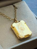 Art Deco 9ct Back & Front Gold Locket on Chain (6 of 10)