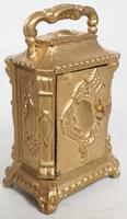 Antique Travelling Miniature Carriage Clock - Original Leather Case Made of Gilt Metal with Enamel Dial Mantel Clock (7 of 12)
