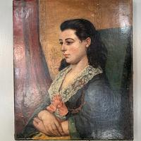 Antique Victorian oil painting portrait Girl in Lace Collar attributed to Dicksee (5 of 9)
