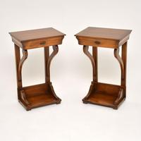 Pair of Antique Empire Style Fruitwood Side Tables