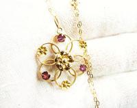 Antique Hallmarked Gold Almandine Garnet Pedant With Necklace (6 of 8)