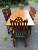 1960s Carved Oak Refectory Table with Set 8 Dining Chairs Green Upholstery (7 of 10)