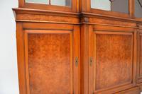 Antique Burr Walnut Breakfront Bookcase / Display Cabinet (8 of 10)