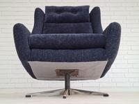 Danish Swivel Armchair with Stool, Completely Renovated-reupholstered, Furniture Wool, Retro Velor, 70s (12 of 17)