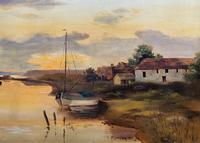 'the Estuary At Sundown' A Large Superb Original Vintage Seascape Oil Painting (3 of 12)