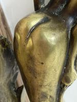Art Deco French Signed Gilt Bronze 2 Female Nude Mermaids Swimming Statue c.1930 (24 of 41)