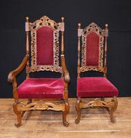 Set Antique Oak Dining Chairs - Farmhouse Kitchen Diners 1880 (5 of 11)
