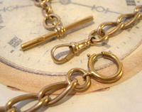 Antique Pocket Watch Chain 1890s Victorian Large Brass Albert With T Bar T*H (9 of 12)