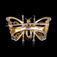Antique Victorian Sapphire Pearl Butterfly Brooch 15ct Gold 1.20ct Sapphire Circa 1890 (3 of 5)