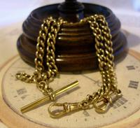 Antique Pocket Watch Chain 1890s Victorian large Brass Double Albert With T Bar (5 of 12)