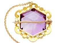 12.50ct Amethyst & Seed Pearl, 15ct Yellow Gold Brooch - Antique c.1890 (5 of 9)