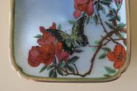 Antique Silver Guilloche Dish Painted with Butterfly & Flowers - 1911 (8 of 11)