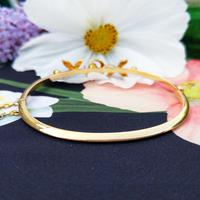 Vintage 14ct Yellow Gold Crescent Moon Pearl Bangle (8 of 8)