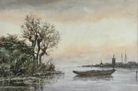 Jan Van Couver Watercolour 'Coastal Landscape'
